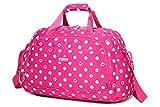 "Waterproof Dot Overnight Carryon Travel Duffle Bag Tote Gym Bag for Women Girls (19"" x 9"" x 11"", Rose)"
