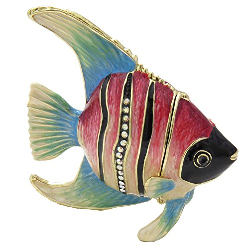Fish Trinket (Red And Black Angelfish Figurine Enameled Trinket Jewelry Box With Swarovski Elements Crystals)