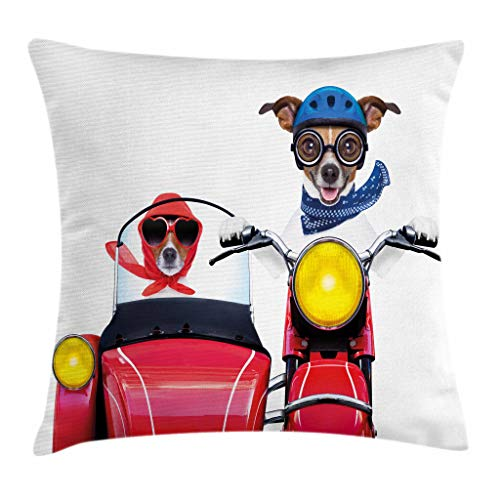 Ambesonne Dog Driver Throw Pillow Cushion Cover, Jack Russell Terriers on a Vintage Motorbike with Helmet and Scarf Funny Design, Decorative Square Accent Pillow Case, 16 X 16 Inches, (Jack Russell Terrier Pillow)