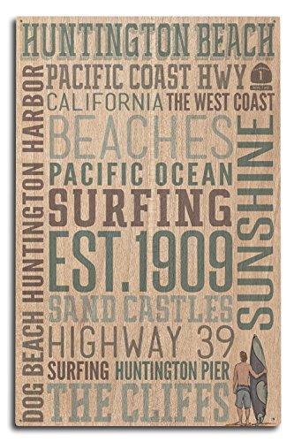 Lantern Press Huntington Beach, California - Typography (10x15 Wood Wall Sign, Wall Decor Ready to Hang) (Coffee Huntington Beach)