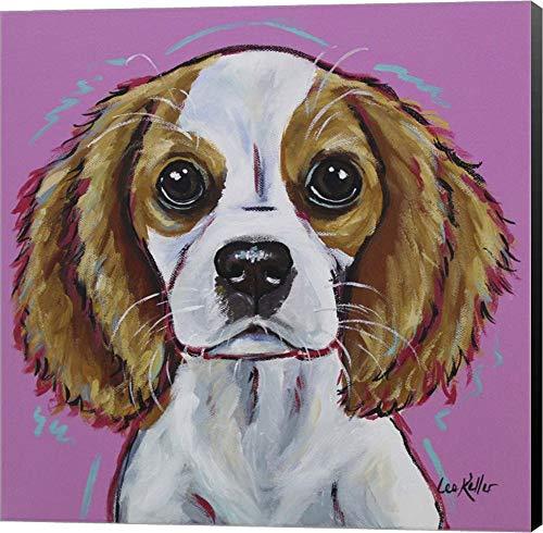 Cavalier King Charles Spaniel 'Love Bug' by Hippie Hound Studios Canvas Art Wall Picture, Museum Wrapped with Black Sides, 12 x 12 inches