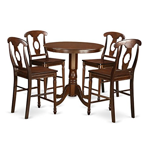 East West Furniture JAKE5-MAH-W 5 Piece High Top Table and 4