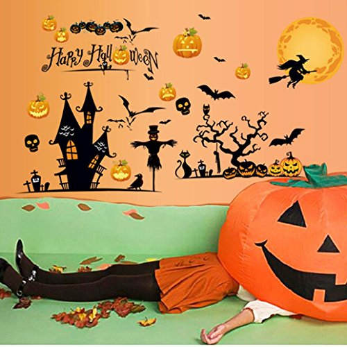 Happy Halloween Party, SUPPION PVC Happy Halloween Home Household Room Wall Sticker Mural Decor Decal Removable New-About 150cm95cm (A) -
