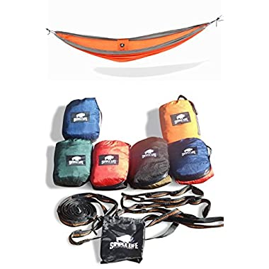 Ultimate Outdoor Nylon Portable Camping Hammock for Two, with Free ($23 Value) Heavy Duty 10ft 16 Loop Tree Straps . Lightweight, Compact Portable for Camping, Hiking, Made of Durable Parachute Nylon