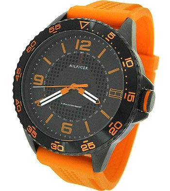 Tommy Hilfiger Men's 1790837 Sport Black IP Case with orange silicon strap Watch