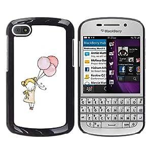 Smartphone PC duro caso cubierta protectora para BlackBerry Q10/Phone Case TECELL Store/Little Girl Balloon Art White Mother Mom