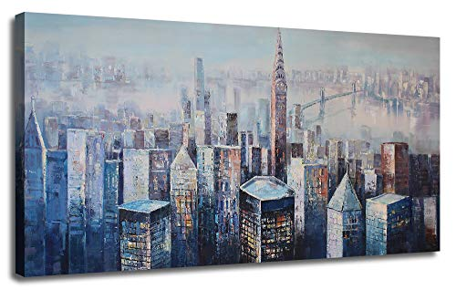 (Ardemy Canvas Wall Art Abstract Blue Grey New York Cityscape Prints 40
