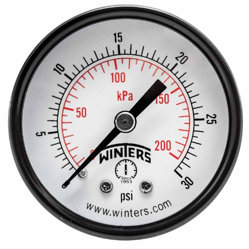 "Winters PEM Series Steel Dual Scale Economy Pressure Gauge, 0-30 psi/kpa, 2"" Dial Display, +/-3-2-3% Accuracy, 1/4"" NPT Center Back Mount"