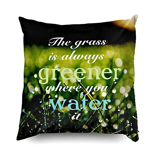 TOMWISH Hidden Zippered Pillowcase the grass is always greener where you water it 18X18Inch,Decorative Throw Custom Cotton Pillow Case Cushion Cover for Home Sofas,bedrooms,offices,and more -