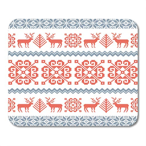 Semtomn Gaming Mouse Pad Red Traditional Knitted Christmas Pattern Reindeer Tree and Nordic 9.5