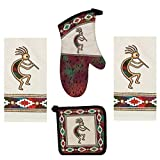 Kay Dee 4 Piece Kokopelli Kitchen Set - 2 Terry Towels, Oven Mitt, Potholder (Canyon Dance Southwest)