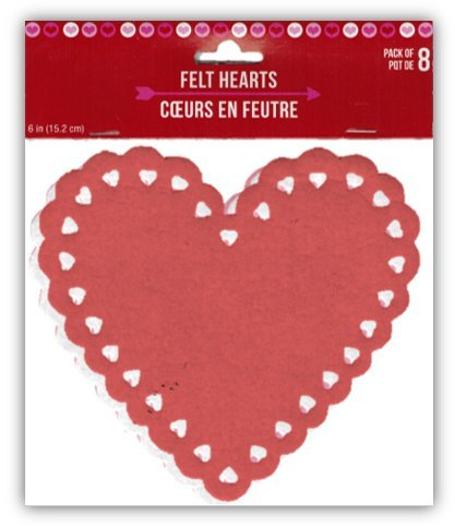 8-Pack 6-inch Decorative Felt Heart Shapes: Red Pink White
