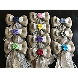 12' Wide Burlap Pew Bow You Customize Flower Color with Lace Tulle Pew Chair Bow Rustic Wedding Reception Venue Decor Wreath Ornament Baby Shower Country Western 6