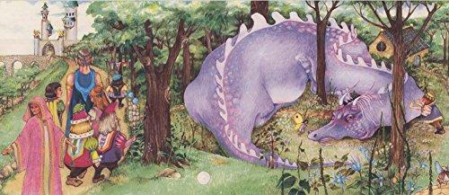 Medieval Castle Nobles Purple Dragon Kids Wallpaper Border Retro Design, Roll 15' x 6