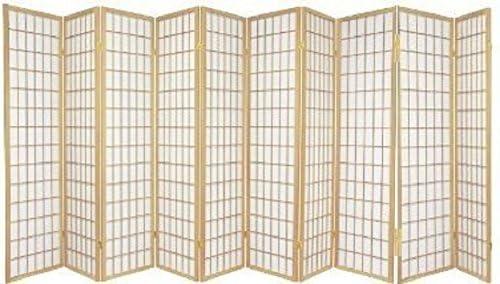 Square Room Divider Shoji Screen Wood Natural 10