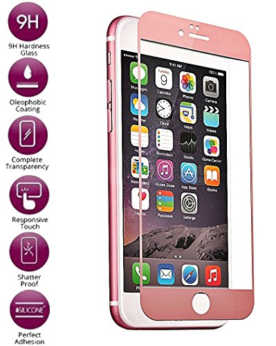Josi Minea [ iPhone 7 ] 3D Curved Tempered Glass Screen Protector with Full Edge to Edge Coverage Crystal Clear Ballistic LCD Screen Cover Guard Premium HD Shield for Apple (Full Curved)