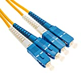 40' SC to SC Fiber Patch Cable, Duplex Single-Mode, 9/125, OS1, Yellow, Plenum-rated
