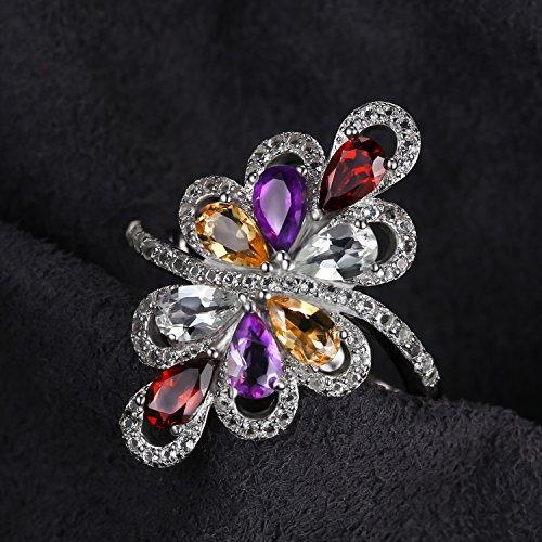 JewelryPalace luxe 1.4ct Poire Multicolore Authentique Améthyste Garnet Citrine Vert Améthyste Cocktail Bague en Argent 925