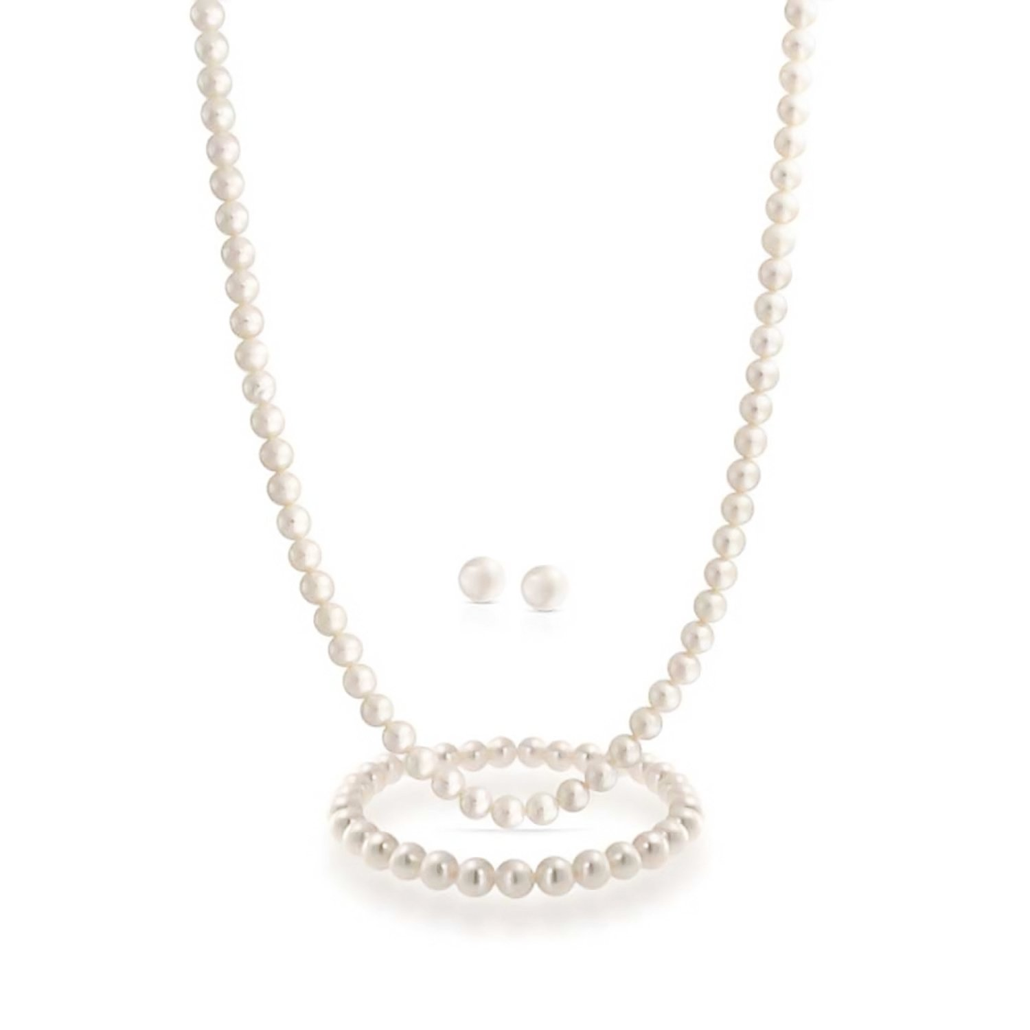 White Freshwater Cultured Pearl Necklace Earrings Bracelet Set Sterling Silver Bling Jewelry CB-50005