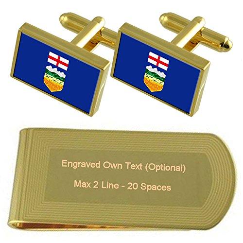 Money Clip Gift Gold Alberta Set Flag tone Engraved Cufflinks p6wSfq