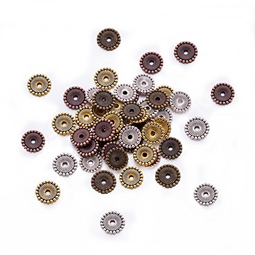 x2mm Tibetan Silver Disc Spacer Beads Mixed Color Assorted Jewelry Beading Accessories Supplies Cadmium Free & Nickel Free & Lead Free ()