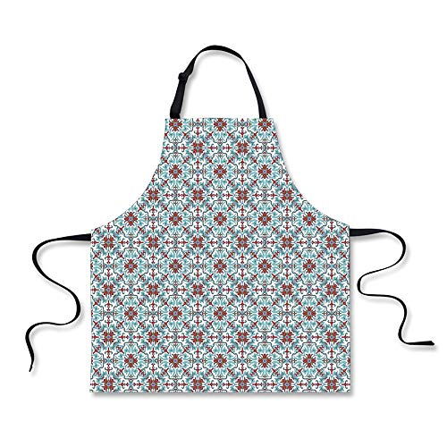 iPrint Cooking Apron,Vintage,Ethnic Antique Floral Pattern I