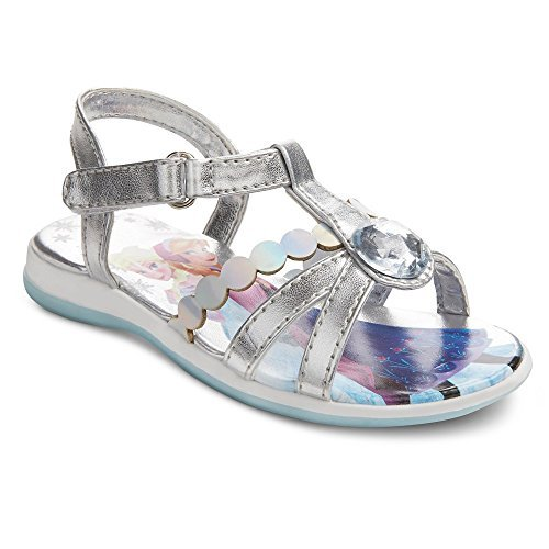 Disney Frozen Elsa & Anna Girls Toddler Silver Rhinestone Sandal Shoes Various Size (6)