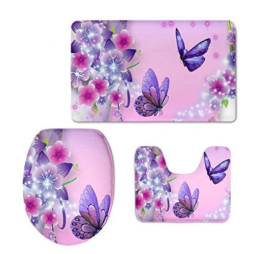 HUGS IDEA Soft Flannel Non Slip Bath Rug Set Butterfly Pink Bathroom Mat Contour and Toilet Lid Cover