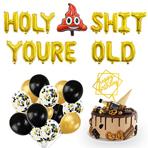 UTOPP Birthday Decoration Gold 16 INCH Holy SHT Youre Old Balloons Banner Flash Acrylic Happy Birthday Cake Toppers Black Gold Balloons Funny Birthday Party Supplies for 21st 30th 40th 50th