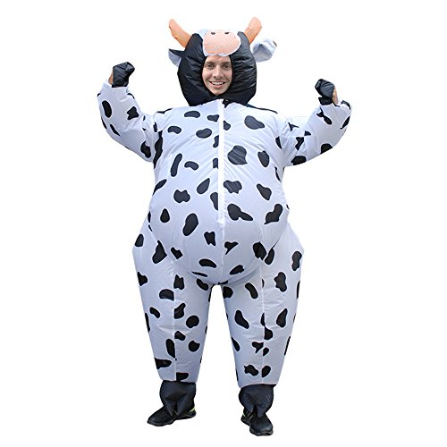 Inflatable Costume Halloween Cosplay Animals Blow Up Jumpsuits for Adult (Cow) -