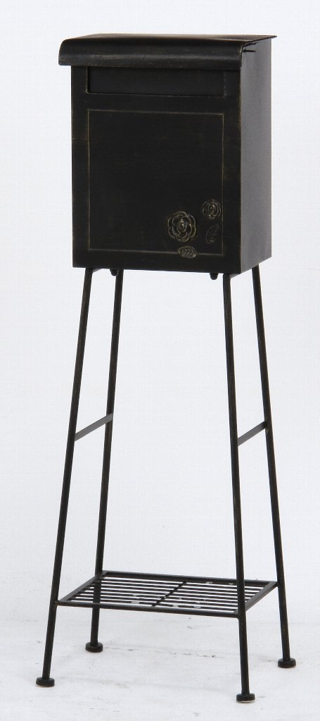 スタンドポスト ガーデンポスト ローズ ブラック 縦型 35501 スタンド式ポスト 送料無料 B072M4Q3T5 10183