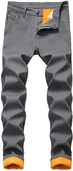 Mens Winter Warm Faux Fur Lined Straight Leg Regular Fit Jeans Denim Pants