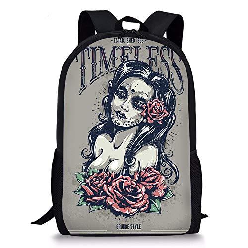 Day of Dead Girl with Tattoos Roses Skull School Backpacks Children Bookbag 17inch Travel Shoulder Bag Lightweight Daypack for Boys Girls