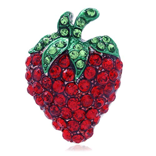 Brooch Pin Fruit (Soulbreezecollection Strawberry Fruit Pin Brooch Red Green Rhinestone Enamel Designer Fashion Jewelry)