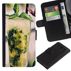 YiPhone /// Tirón de la caja Cartera de cuero con ranuras para tarjetas - COCTEL DE MOJITO FRESCO - Samsung Galaxy S3 III I9300