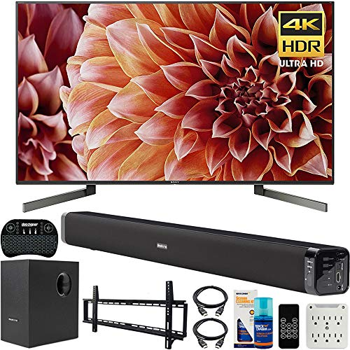 Sony XBR65X900F 65-Inch 4K Ultra HD Smart LED TV Bundle with Deco Gear 60W Soundbar, Wall Mount Kit, 2.4GHz Backlit Keyboard, 6-Outlet Surge Adapter and Screen Cleaner for LED TVs (Small Sony Tv)
