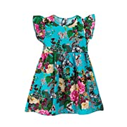Boomboom Baby Girls Summer Dress Lovely Baby Toddle Girls Floral Sleeveless Princess Beach Dress (18M, Blue)