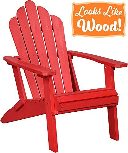 PolyTEAK Seashell Oversized Folding Poly Adirondack Chair, Cardinal Red | Adult-Size, Weather Resistant, Made from Plastic (Adirondacks Weather)