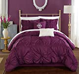 Chic Home Halpert 6 Piece Comforter Set Floral Pinch Pleated Ruffled Designer Embellished Bedding with Bed Skirt and Decorative Pillows Shams Included, Queen Purple