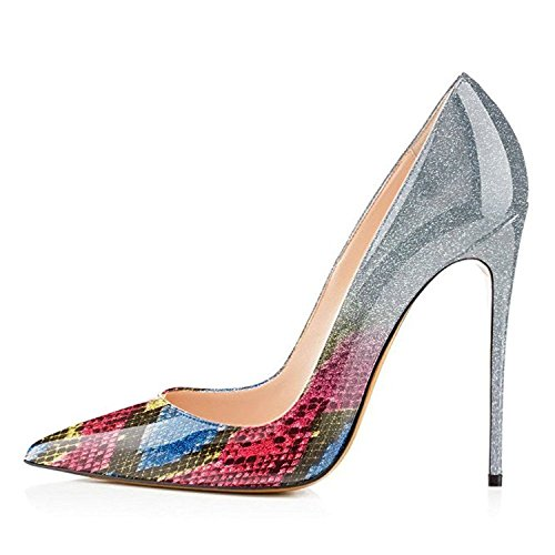 Maguidern Patent Leather Pumps Shoes 5 inches High Heels Kidskin Material Women's Sexy Pointed Toe Thin High Heel Shoes Snake Skin Size 7