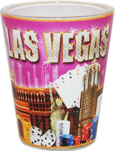 Las Vegas Nevada Pink Gold Diamond Letters Collage Shot Glass ctm