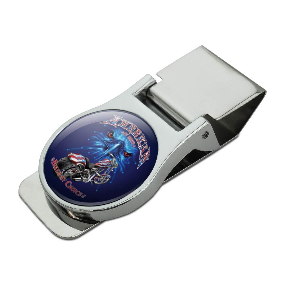 American by Birth Biker By Choice Motorcycle USA Flag Eagle Satin Chrome Plated Metal Money Clip