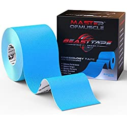 Kinesiology BLUE Tape - FREE Ebook Latest Strapping,Taping Applications - Therapeutic Athletic Sports Tape - Knee Shoulder Elbow Ankle Neck - Superior Waterproof Adhesion -Non-Latex FDA