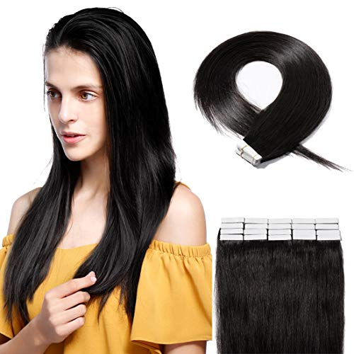 (40 Pieces Rooted Tape in Hair Extensions Human Hair Seamless Skin Weft 100% Real Remy Invisible Tape Hair Extensions Straight Double Sided 18 inches #1B Natural Black 100g)