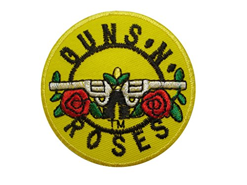 2 pieces GUNS N ROSES Iron On Patch Fabric Applique Motif Rock Band Punk Metal Decal dia. 2.3 inches (5.7 cm)
