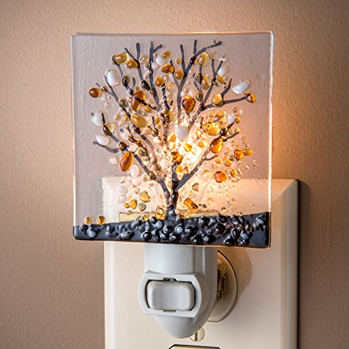 J Devlin NTL 159-1 Fused Glass Tree Nigh - Amber Glass Night Light Shopping Results