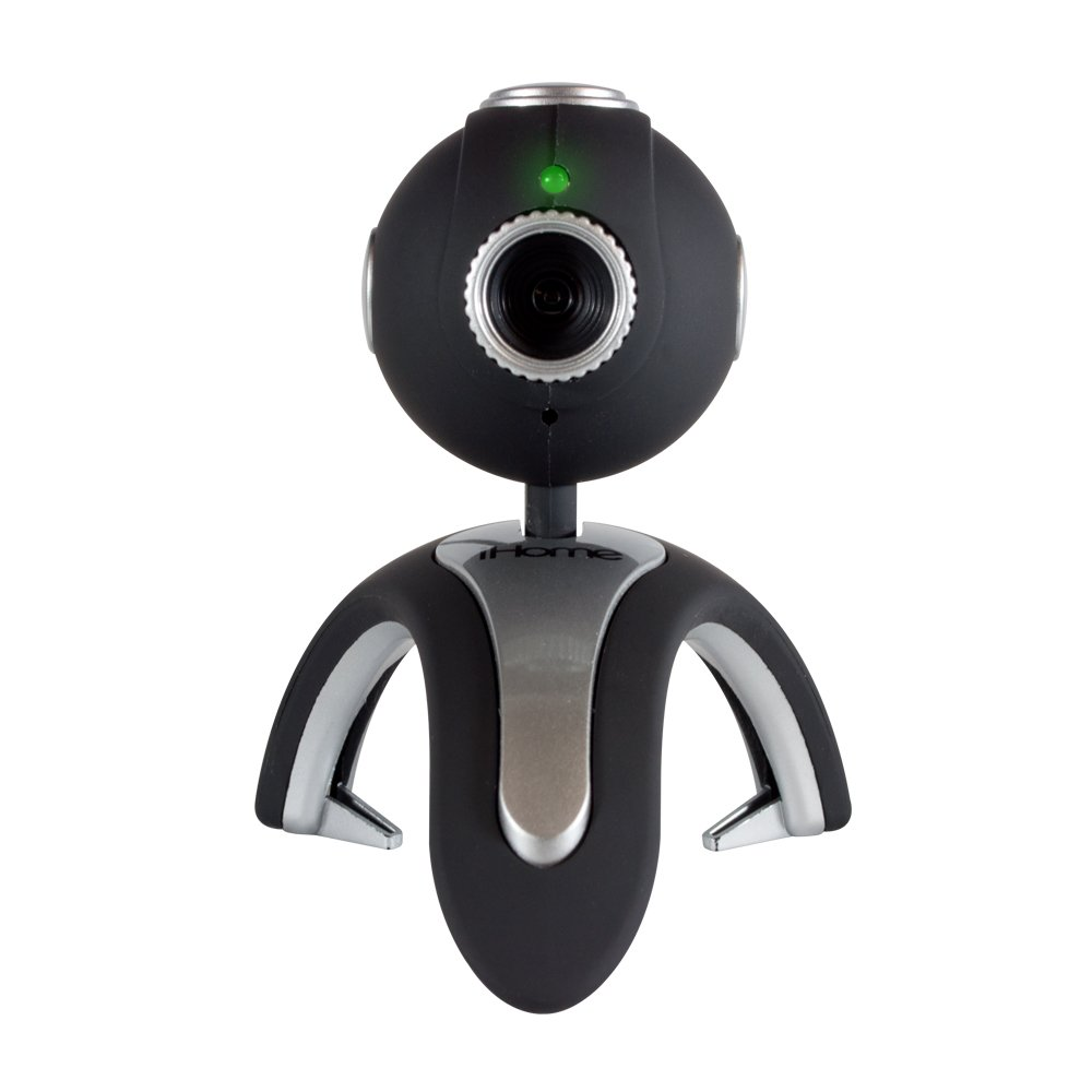 iHome USB Webcam for: Skype, Yahoo Messenger, Microsoft Live Messenger, Black/Silver (IH-W320BS)