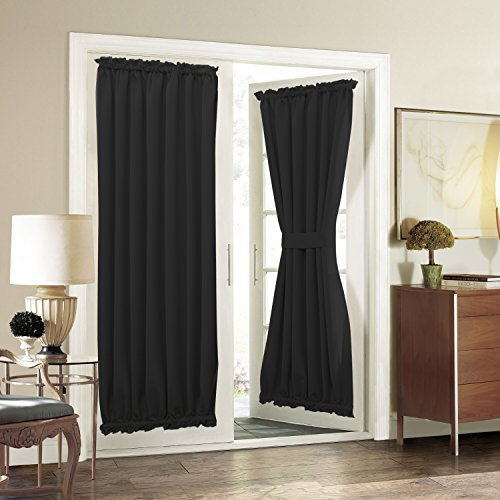 Aquazolax Sliding Glass Door Curtain Panels Functional Thermal Insulated Blackout Curtains Drapes 54x72 Inch Solid Kitchen Door Window Panel Coverings, 1 Piece, Black ()