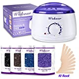 Rapid Melt Hair Removal Waxing Kit Electric Hot Wax Warmer with 4 different flavors Hard Wax Beans and Wax Applicator Sticks 3.5 oz A Bag Of Wax Beans(Chamomile, Lavender,Nature,Chocolate)