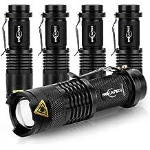 MIKAFEN 5 Pack Mini Flashlights LED Flashlight 300lm Adjustable Focus Zoomable Light (Black)